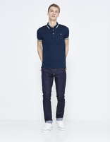 polo piqué slim avec poche - LEAGERAY_NAVY - Silhouette - Celio France