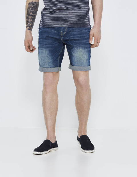 bermuda regular denim délavé - GOFIRSTBM_BLUE - Vue de face - Celio France