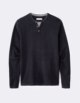 Pull straight coton col tunisien - LECHILL_NAVY - Image à plat - Celio France