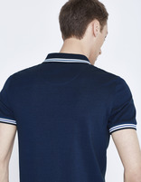 polo piqué slim avec poche - LEAGERAY_NAVY - Vue de dos - Celio France