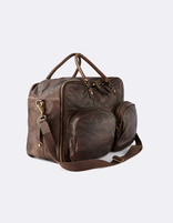 Sac week end en cuir marron - MILEATHER_BROWN - Vue à 45° - Celio France