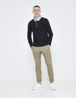 polo 100% coton manches longues - LESSIMMO_NAVY - Silhouette - Celio France