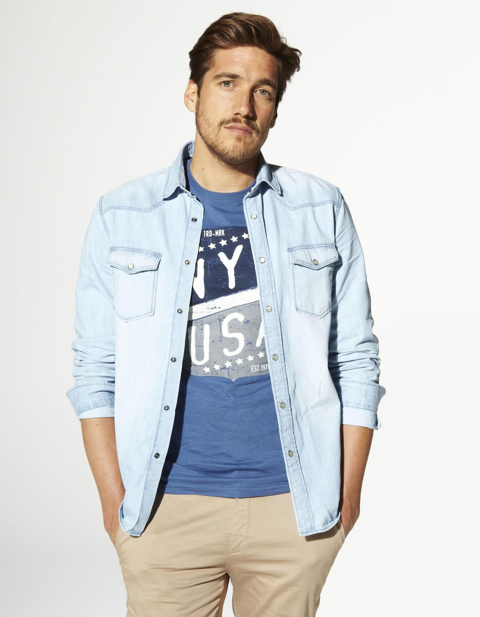 Coupe 100 Vajean Chemise Regular Denim Délavé Coton Celio France AqEIIY4w