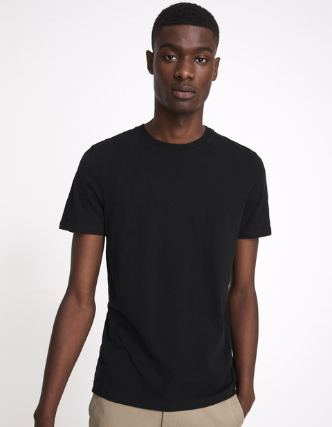 t-shirt regular 100% coton - MEPEACHY_NOIR - Vue de face - Celio France
