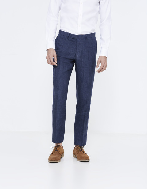 pantalon de costume slim en lin - LOWEDDING_INDIGO - Vue de face - Celio France