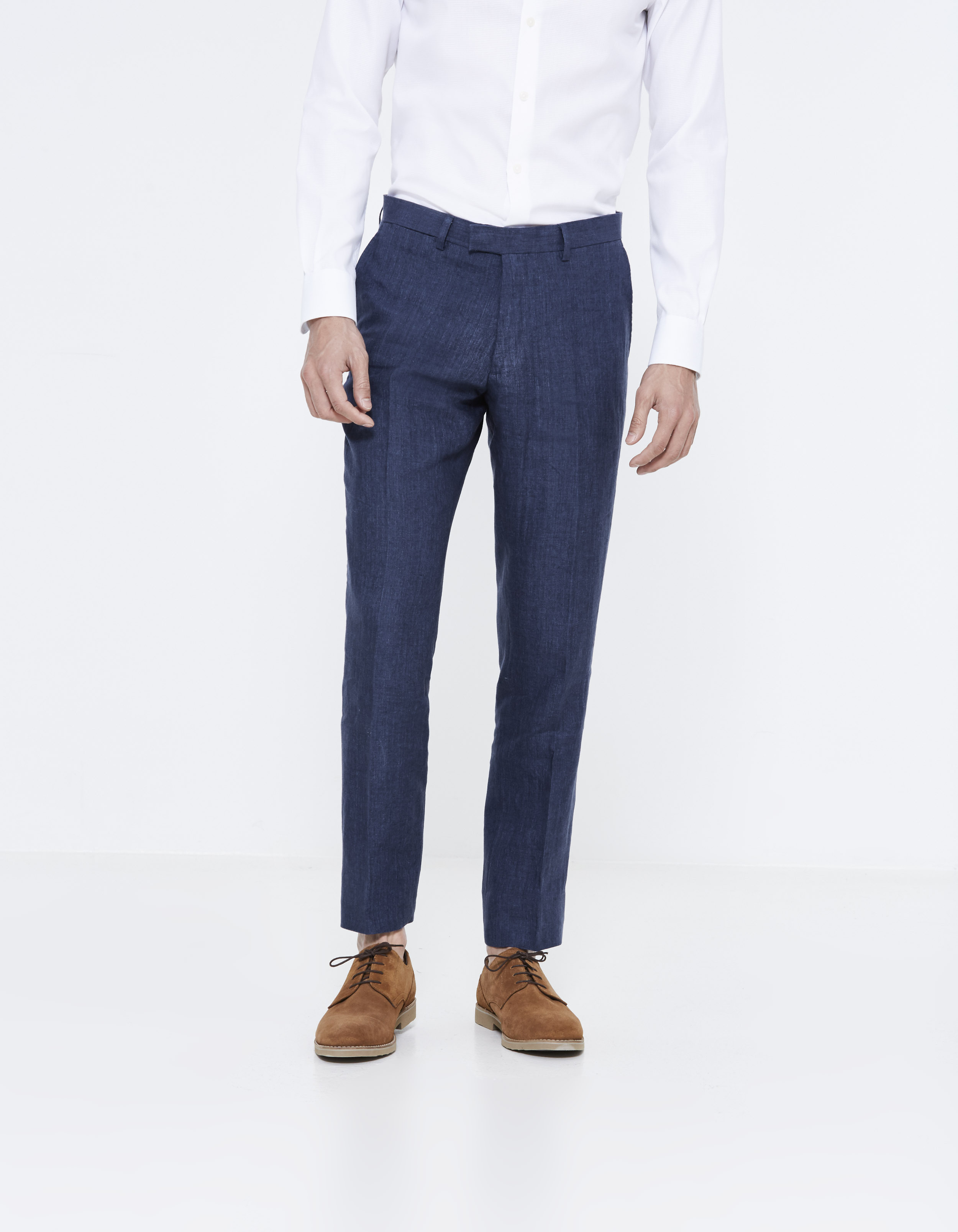 cc8a36070f387 pantalon de costume slim en lin - LOWEDDING INDIGO - Vue de face - Celio  France