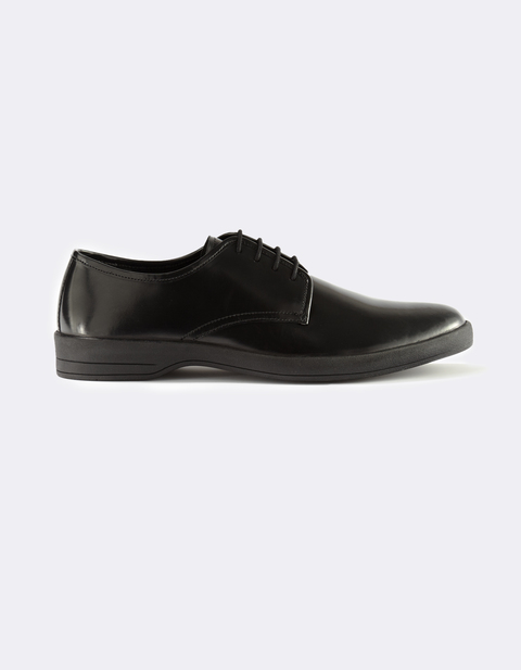 Derbies 100% cuir mi-mat - MYFLAT_BLACK - Vue de face - Celio France