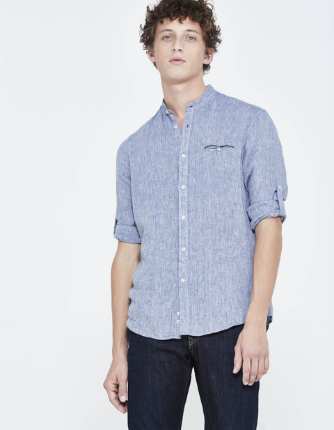 chemise regular 100% lin col mao - LATAMAO_CHAMBRAY - Vue de face - Celio France