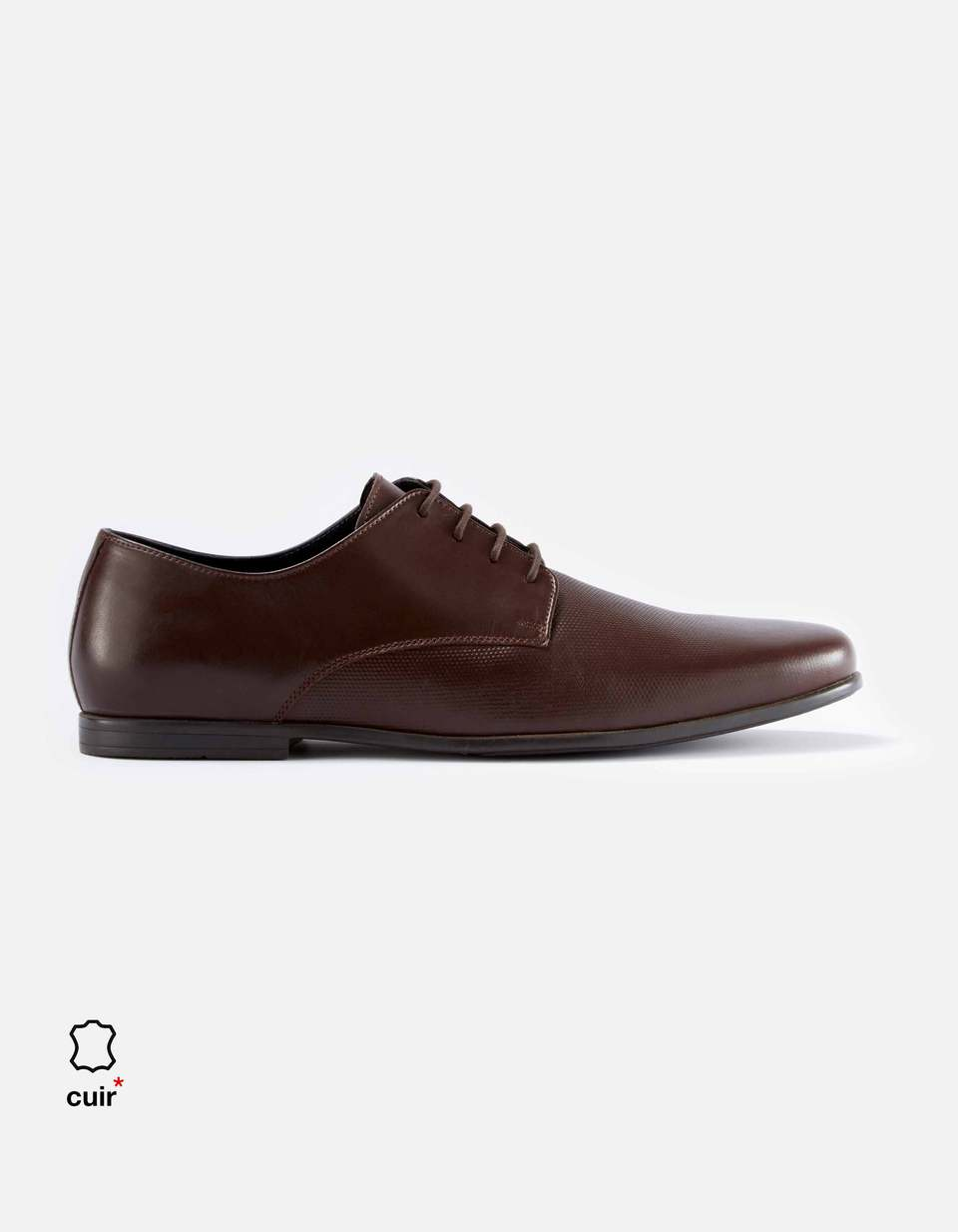 Chaussures derby 100% cuir - FYPERFO_BROWN - Image à plat - Celio France