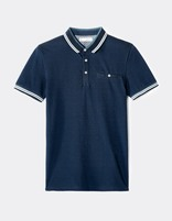 polo piqué slim avec poche - LEAGERAY_NAVY - Image à plat - Celio France