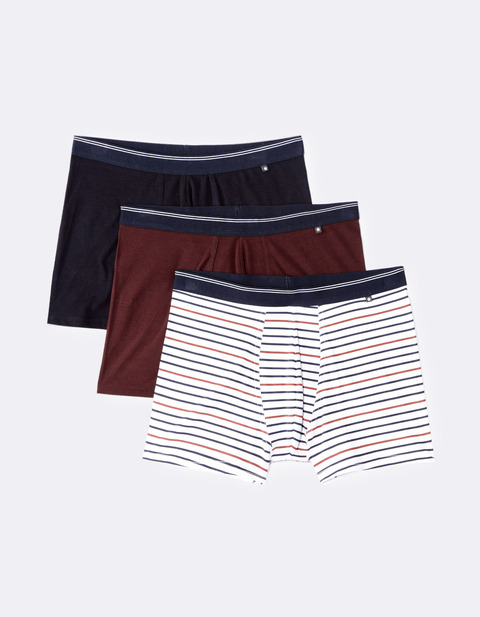 lot de 3 boxers coton stretch - GIBOX3F_REDWINE - Vue de face - Celio France