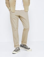 Chino straight coton stretch - MOTA_BEIGECHAMOIS - Vue de face - Celio France