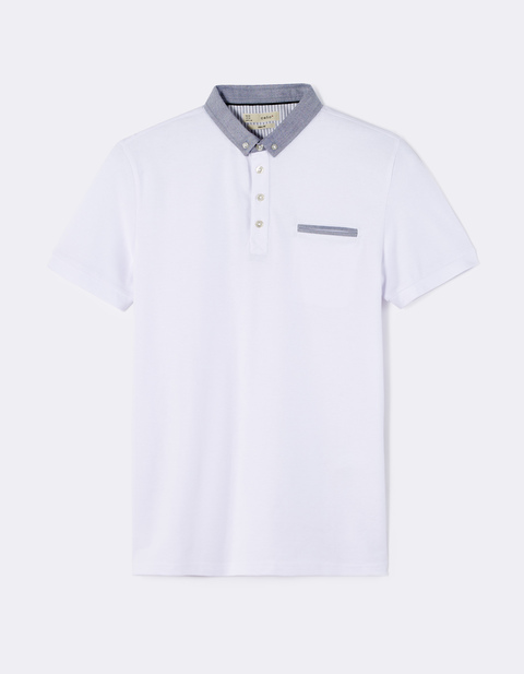 polo piqué slim stretch à poche - DEPETIT_OPTICALWHITE - Image à plat - Celio France