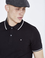 polo slim piqué coton stretch - LECOLRAYEB_NOIR - Vue de face - Celio France