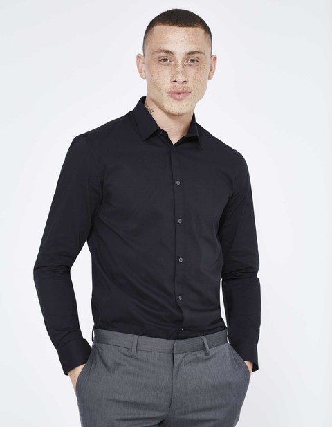 chemise slim stretch unie - JASANTAL2_NOIR - Vue de face - Celio France